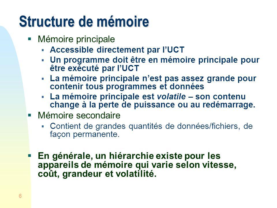 7 Hiérarchie des appareils de mémoire