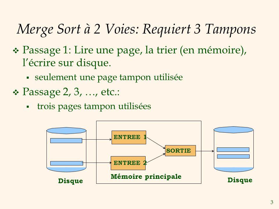 4 Merge Sort à 2 Voies: Algorithme proc two-way_extsort(file) // Trier un fichier sur disque en utilisant 3 pages tampons // Passage 0: produit des runs dune page Lire chaque page du fichier dans la mémoire, le trier et lécrire.