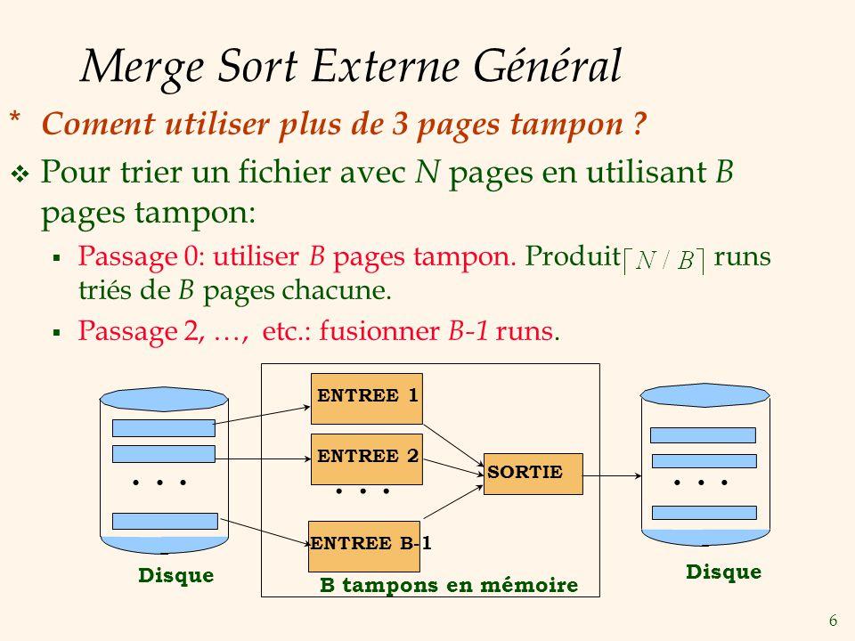 6 Merge Sort Externe Général * Coment utiliser plus de 3 pages tampon .
