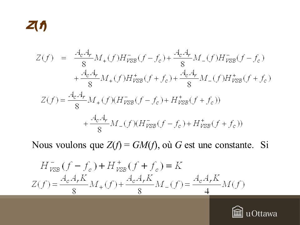 Z(f)Z(f) Nous voulons que Z(f) = GM(f), où G est une constante. Si