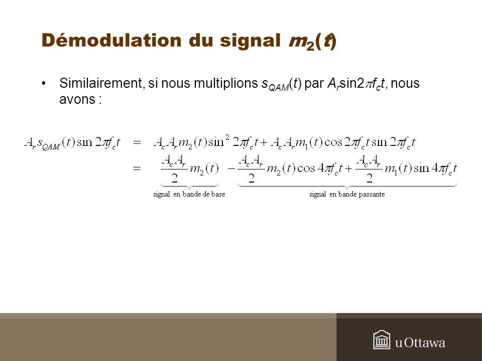 Démodulation du signal m 2 (t) Similairement, si nous multiplions s QAM (t) par A r sin2 f c t, nous avons :