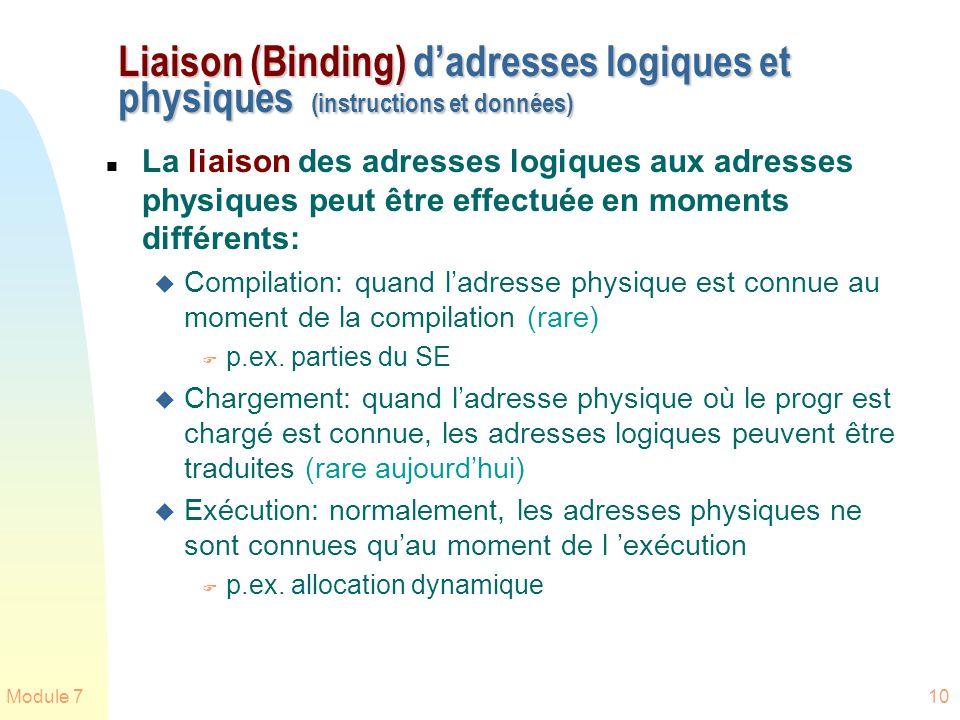 Module 710 Liaison (Binding) dadresses logiques et physiques (instructions et données) n La liaison des adresses logiques aux adresses physiques peut