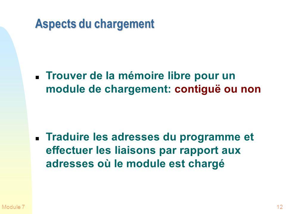 Module 712 Aspects du chargement n Trouver de la mémoire libre pour un module de chargement: contiguë ou non n Traduire les adresses du programme et e