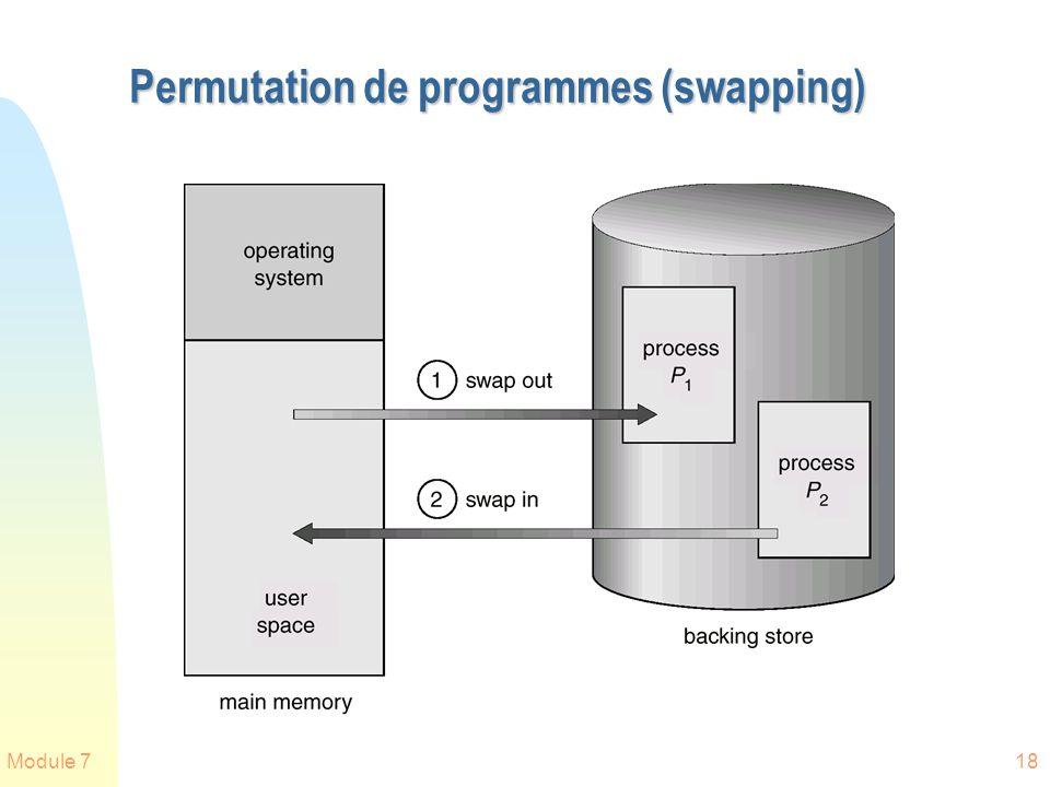 Module 718 Permutation de programmes (swapping)