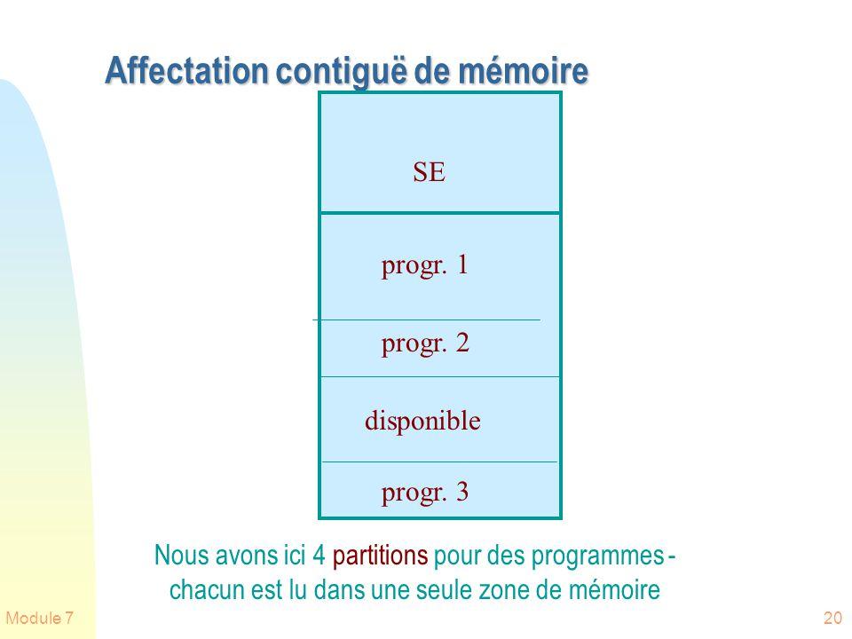 Module 720 Affectation contiguë de mémoire SE progr. 1 progr. 2 progr. 3 disponible Nous avons ici 4 partitions pour des programmes - chacun est lu da