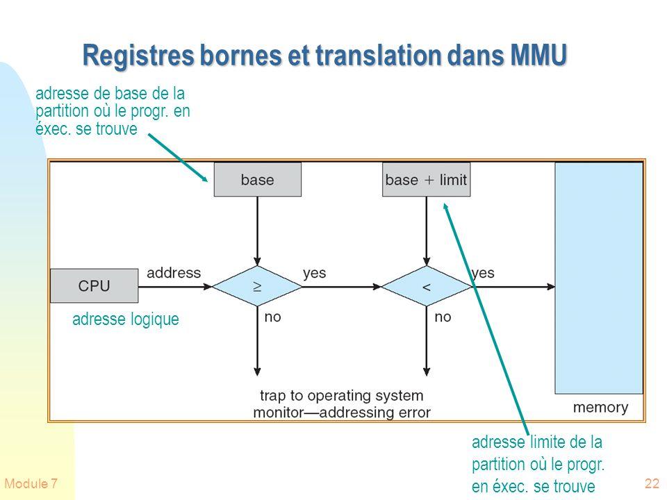 Module 722 Registres bornes et translation dans MMU adresse de base de la partition où le progr. en éxec. se trouve adresse limite de la partition où