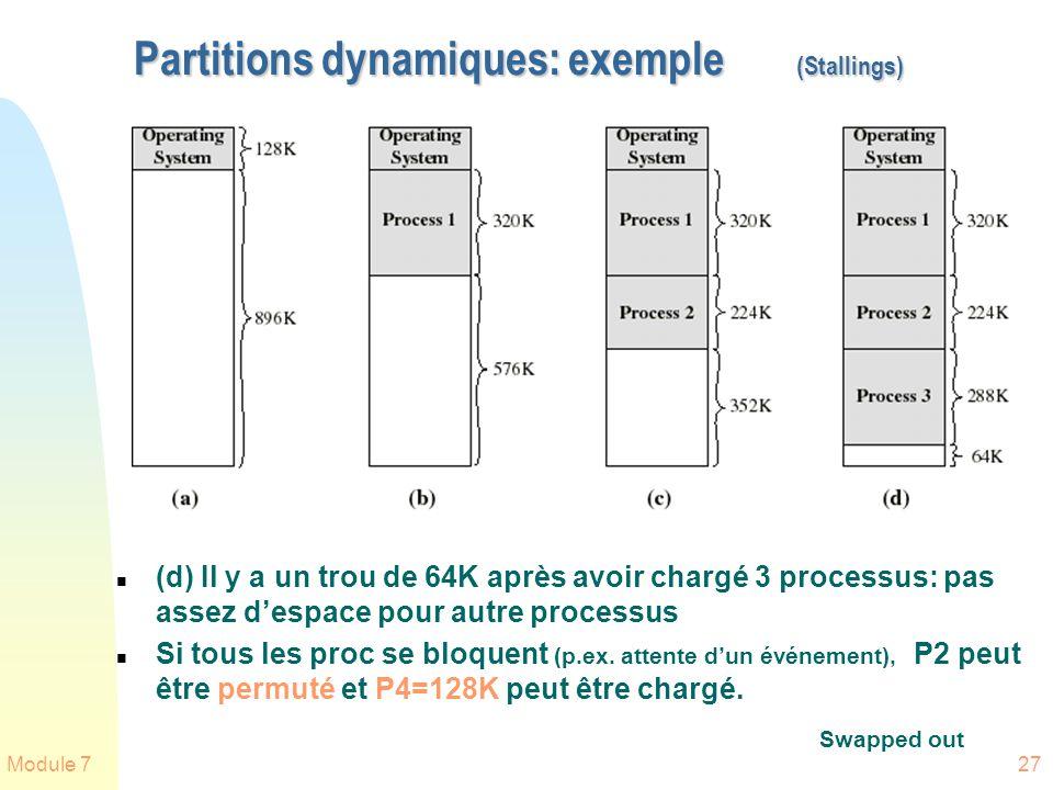 Module 727 Partitions dynamiques: exemple (Stallings) n (d) Il y a un trou de 64K après avoir chargé 3 processus: pas assez despace pour autre process