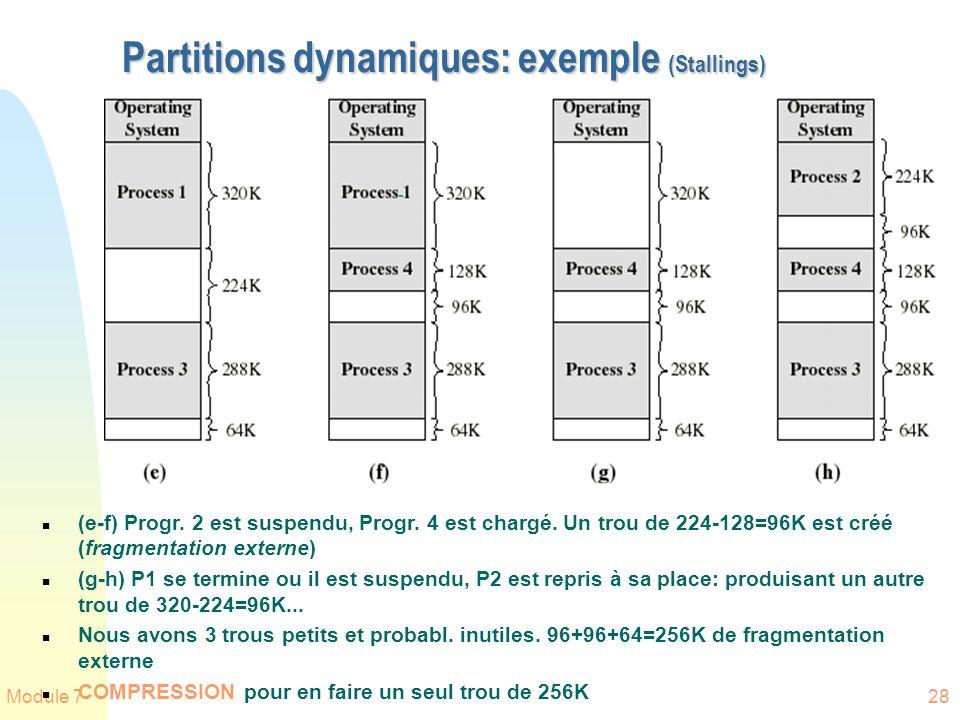 Module 728 Partitions dynamiques: exemple (Stallings) n (e-f) Progr. 2 est suspendu, Progr. 4 est chargé. Un trou de 224-128=96K est créé (fragmentati
