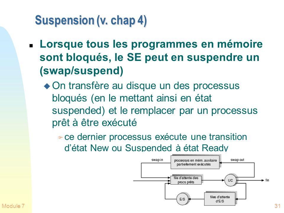 Module 731 Suspension (v. chap 4) n Lorsque tous les programmes en mémoire sont bloqués, le SE peut en suspendre un (swap/suspend) u On transfère au d