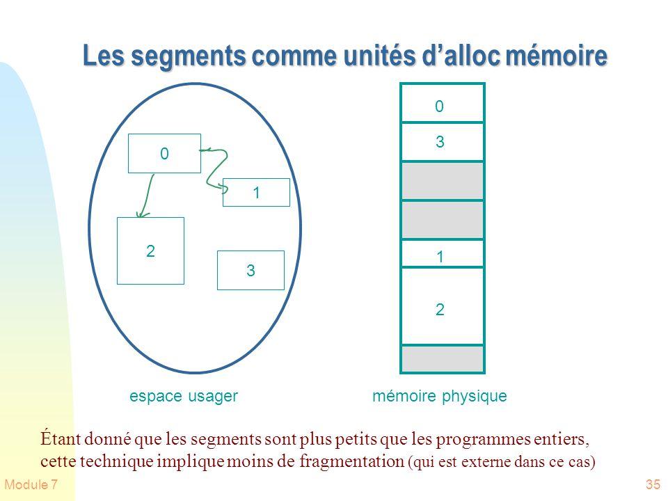 Module 735 Les segments comme unités dalloc mémoire 0 2 1 3 0 3 1 2 espace usagermémoire physique Étant donné que les segments sont plus petits que le