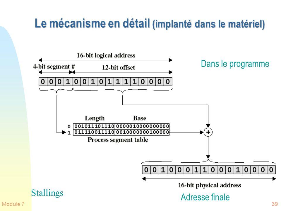 Module 739 Le mécanisme en détail (implanté dans le matériel) Stallings Dans le programme Adresse finale