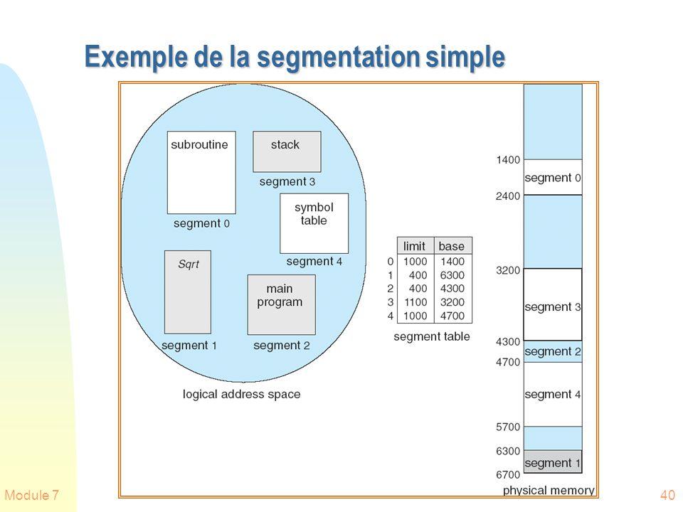 Module 740 Exemple de la segmentation simple