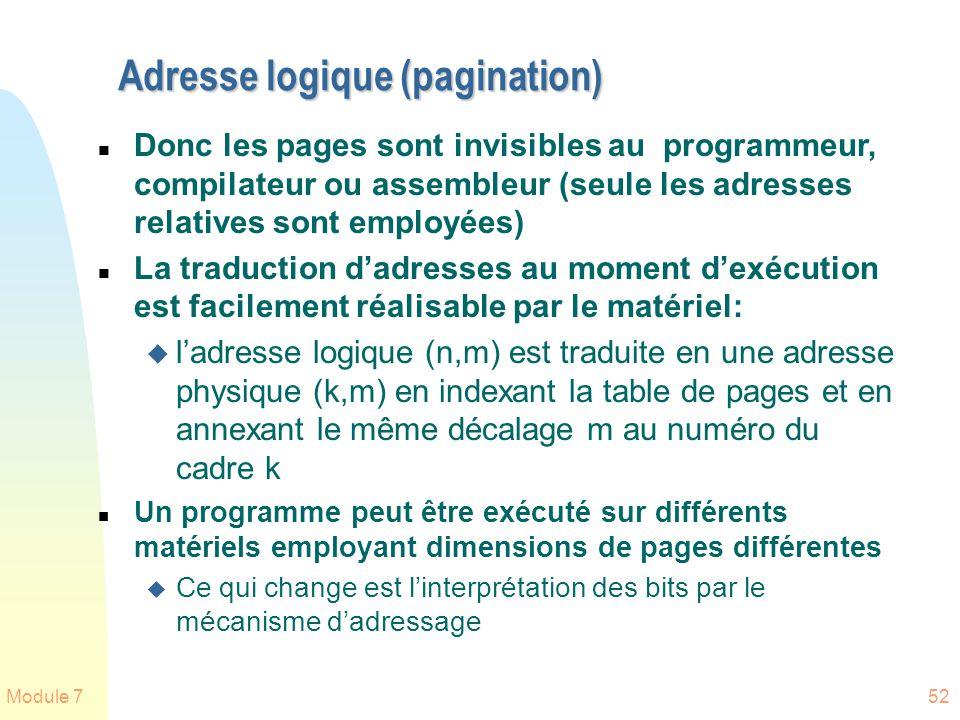 Module 752 Adresse logique (pagination) n Donc les pages sont invisibles au programmeur, compilateur ou assembleur (seule les adresses relatives sont