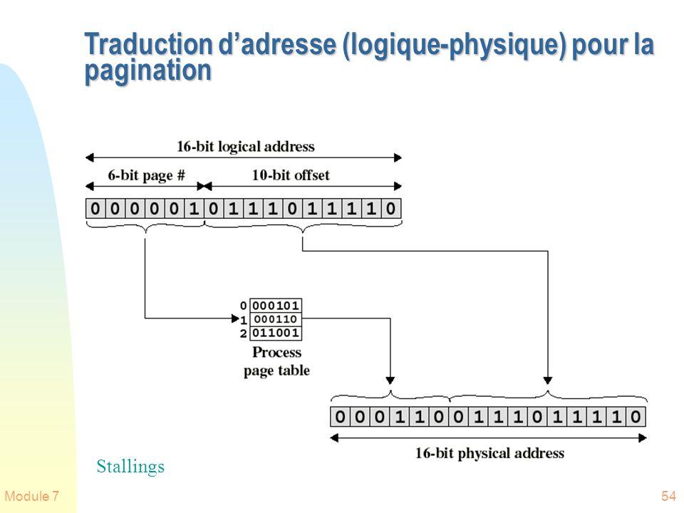 Module 754 Traduction dadresse (logique-physique) pour la pagination Stallings