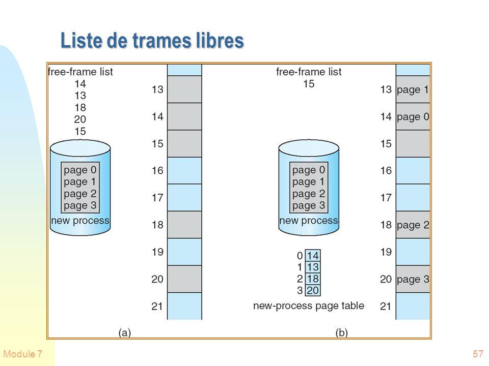 Module 757 Liste de trames libres