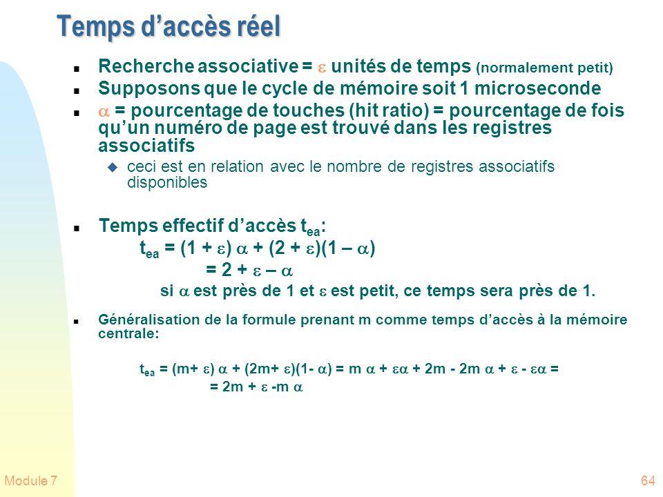Module 764 Temps daccès réel n Recherche associative = unités de temps (normalement petit) n Supposons que le cycle de mémoire soit 1 microseconde n =