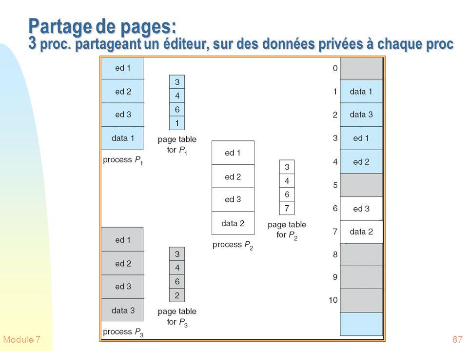 Module 767 Partage de pages: 3 proc. partageant un éditeur, sur des données privées à chaque proc