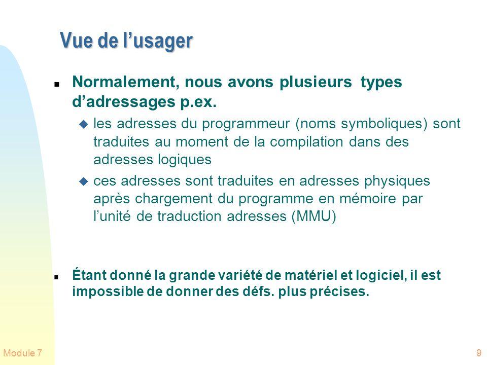 Module 79 Vue de lusager n Normalement, nous avons plusieurs types dadressages p.ex. u les adresses du programmeur (noms symboliques) sont traduites a