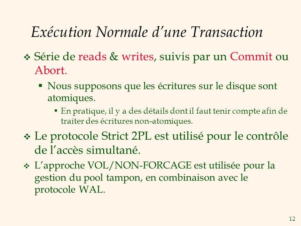 12 Exécution Normale dune Transaction Série de reads & writes, suivis par un Commit ou Abort.