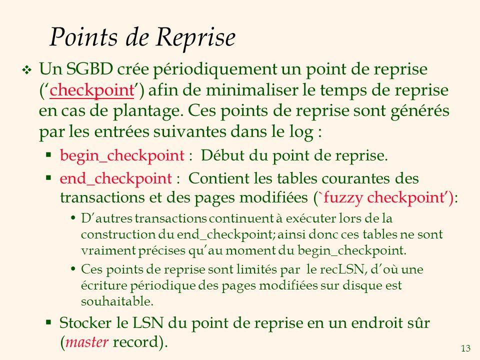 13 Points de Reprise Un SGBD crée périodiquement un point de reprise (checkpoint) afin de minimaliser le temps de reprise en cas de plantage.