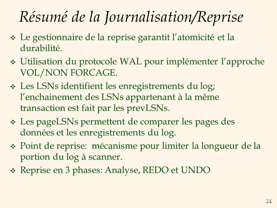 24 Résumé de la Journalisation/Reprise Le gestionnaire de la reprise garantit latomicité et la durabilité.