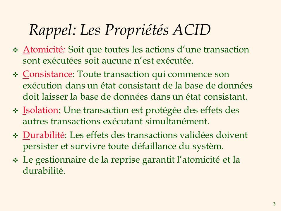 3 Rappel: Les Propriétés ACID Atomicité : Soit que toutes les actions dune transaction sont exécutées soit aucune nest exécutée.