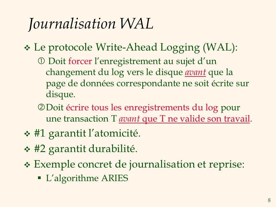 9 Journal & WAL Chaque enregistrement du log a une identité unique: Log Sequence Number (LSN).