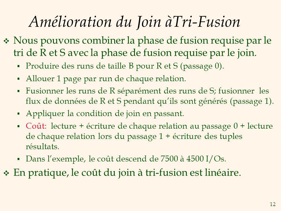 12 Amélioration du Join àTri-Fusion Nous pouvons combiner la phase de fusion requise par le tri de R et S avec la phase de fusion requise par le join.