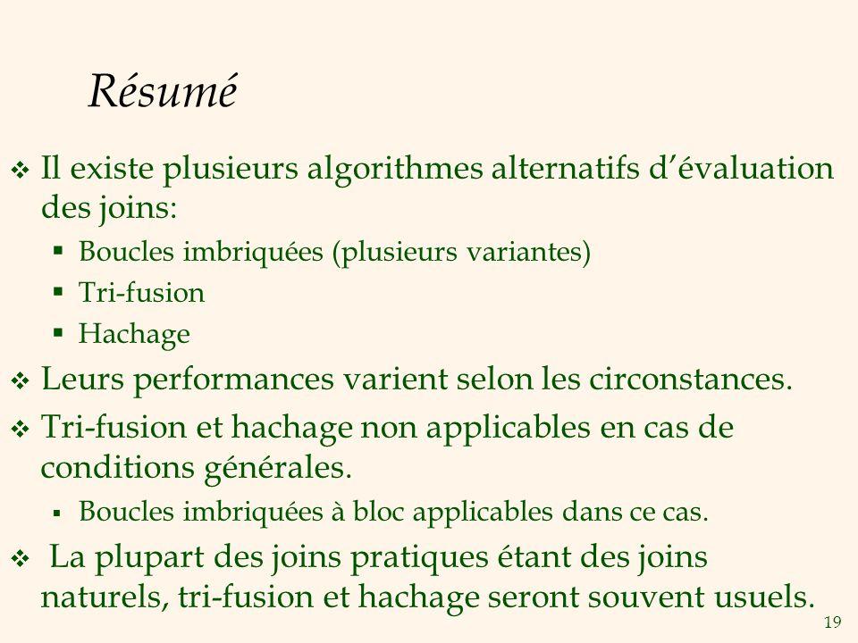19 Résumé Il existe plusieurs algorithmes alternatifs dévaluation des joins: Boucles imbriquées (plusieurs variantes) Tri-fusion Hachage Leurs performances varient selon les circonstances.