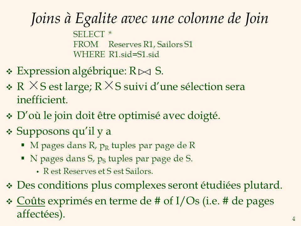 4 Joins à Egalite avec une colonne de Join Expression algébrique: R S. R S est large; R S suivi dune sélection sera inefficient. Doù le join doit être