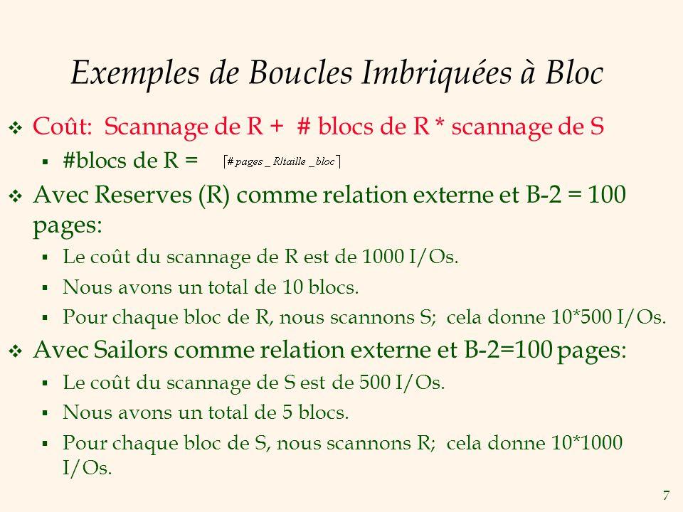 7 Exemples de Boucles Imbriquées à Bloc Coût: Scannage de R + # blocs de R * scannage de S #blocs de R = Avec Reserves (R) comme relation externe et B-2 = 100 pages: Le coût du scannage de R est de 1000 I/Os.