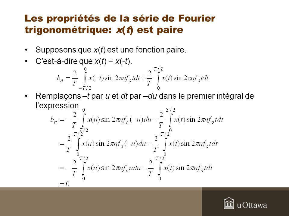 Les propriétés de la série de Fourier trigonométrique: x(t) est paire Supposons que x(t) est une fonction paire. C'est-à-dire que x(t) = x(-t). Rempla