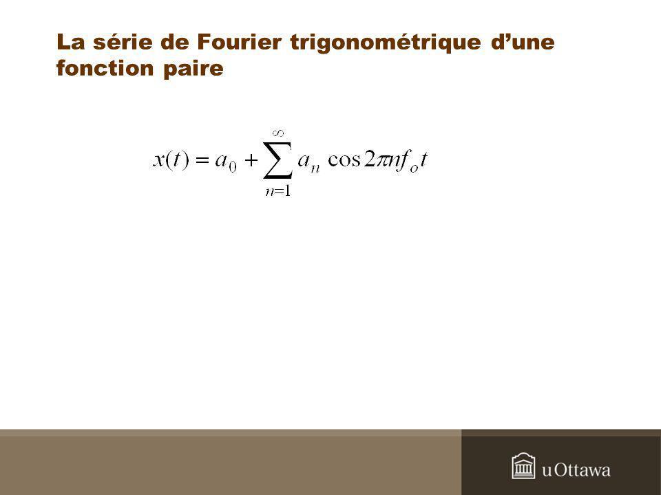 La série de Fourier trigonométrique dune fonction paire