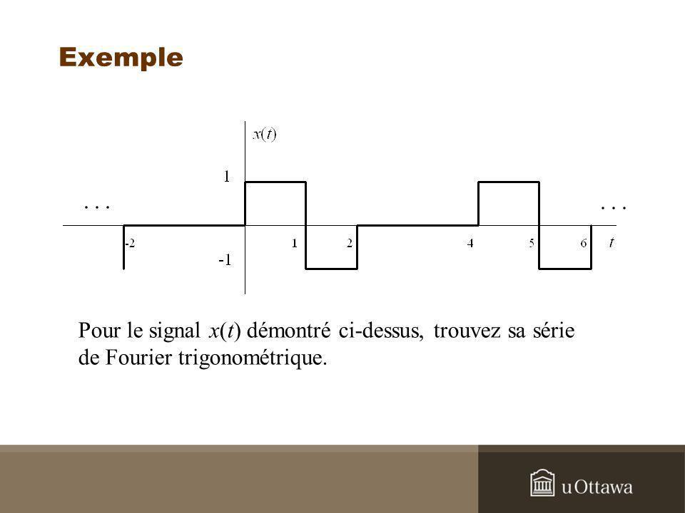 Exemple Pour le signal x(t) démontré ci-dessus, trouvez sa série de Fourier trigonométrique.