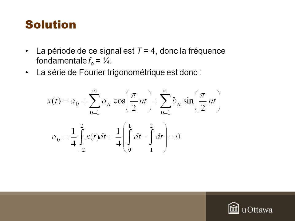 Solution La période de ce signal est T = 4, donc la fréquence fondamentale f o = ¼. La série de Fourier trigonométrique est donc :
