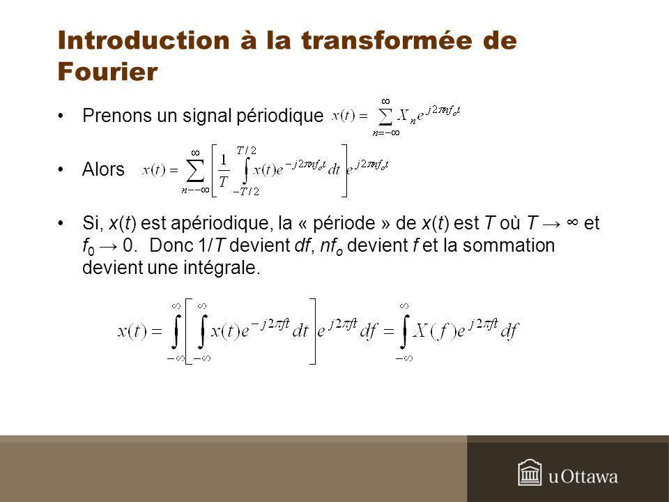Introduction à la transformée de Fourier Prenons un signal périodique Alors Si, x(t) est apériodique, la « période » de x(t) est T où T et f 0 0. Donc