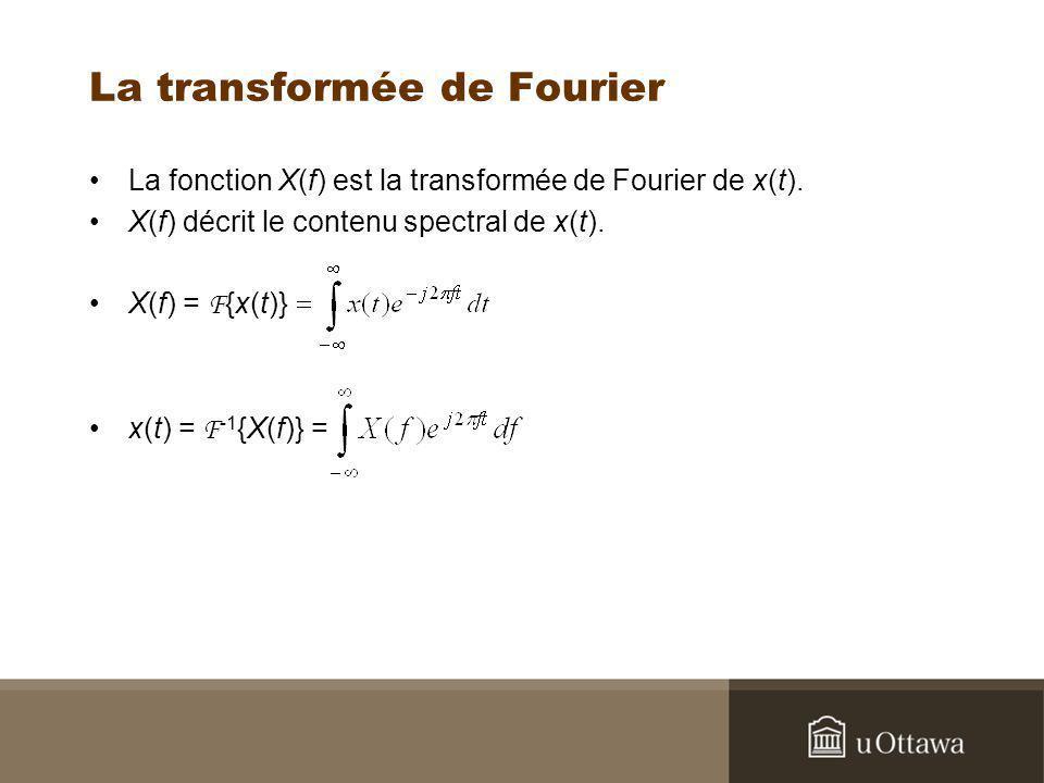 La transformée de Fourier La fonction X(f) est la transformée de Fourier de x(t). X(f) décrit le contenu spectral de x(t). X(f) = F {x(t)} x(t) = F -1