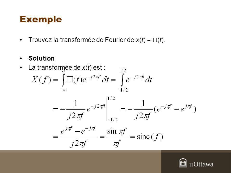 Exemple Trouvez la transformée de Fourier de x(t) = (t). Solution La transformée de x(t) est :