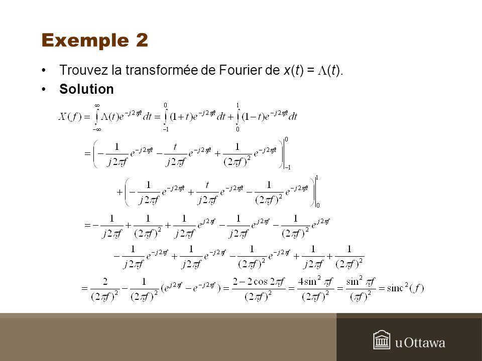 Exemple 2 Trouvez la transformée de Fourier de x(t) = (t). Solution