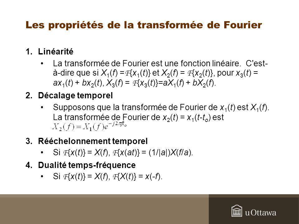 Les propriétés de la transformée de Fourier 1.Linéarité La transformée de Fourier est une fonction linéaire. C'est- à-dire que si X 1 (f) = F {x 1 (t)