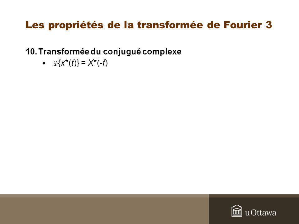 Les propriétés de la transformée de Fourier 3 10.Transformée du conjugué complexe F {x*(t)} = X*(-f)