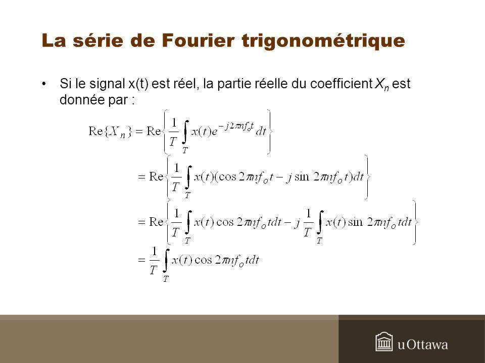 La série de Fourier trigonométrique Si le signal x(t) est réel, la partie réelle du coefficient X n est donnée par :