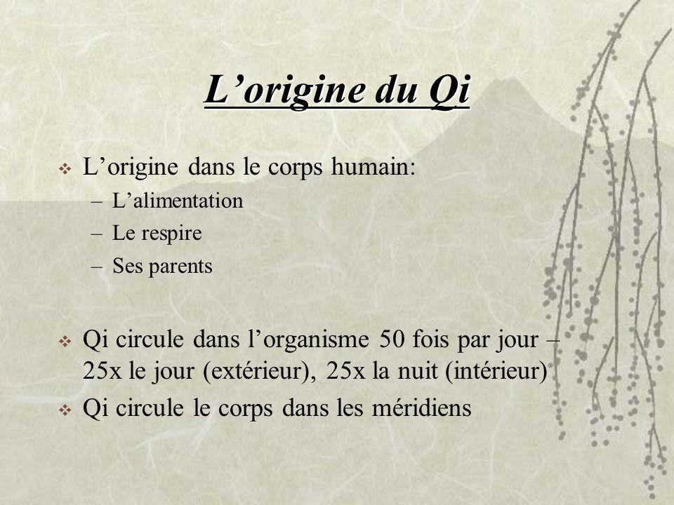 Lorigine du Qi Lorigine dans le corps humain: –Lalimentation –Le respire –Ses parents Qi circule dans lorganisme 50 fois par jour – 25x le jour (extér
