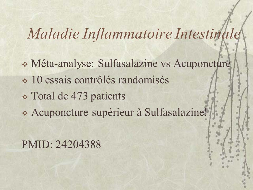 Maladie Inflammatoire Intestinale Méta-analyse: Sulfasalazine vs Acuponcture 10 essais contrôlés randomisés Total de 473 patients Acuponcture supérieu