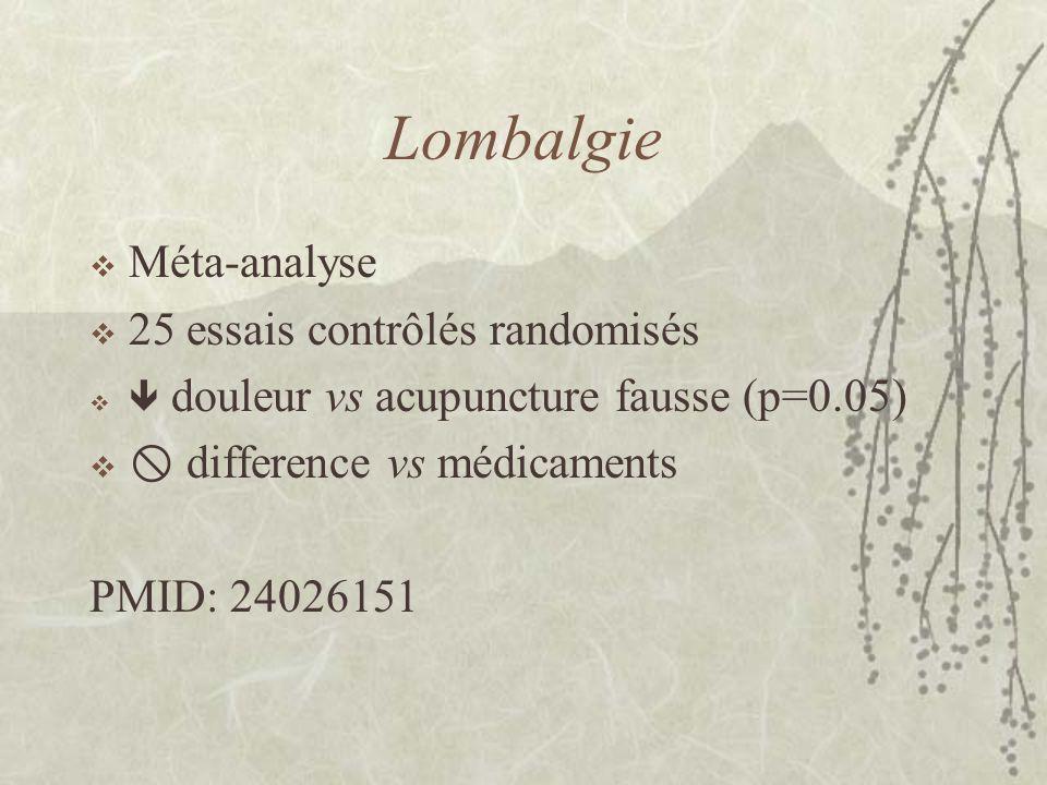 Lombalgie Méta-analyse 25 essais contrôlés randomisés douleur vs acupuncture fausse (p=0.05) difference vs médicaments PMID: 24026151