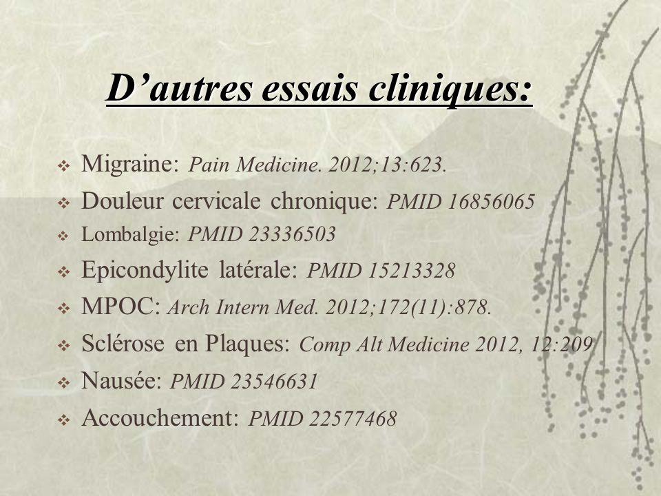 Dautres essais cliniques: Migraine: Pain Medicine. 2012;13:623. Douleur cervicale chronique: PMID 16856065 Lombalgie: PMID 23336503 Epicondylite latér