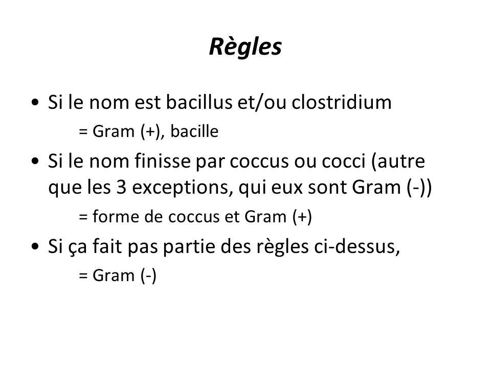 Règles Si le nom est bacillus et/ou clostridium = Gram (+), bacille Si le nom finisse par coccus ou cocci (autre que les 3 exceptions, qui eux sont Gram (-)) = forme de coccus et Gram (+) Si ça fait pas partie des règles ci-dessus, = Gram (-)