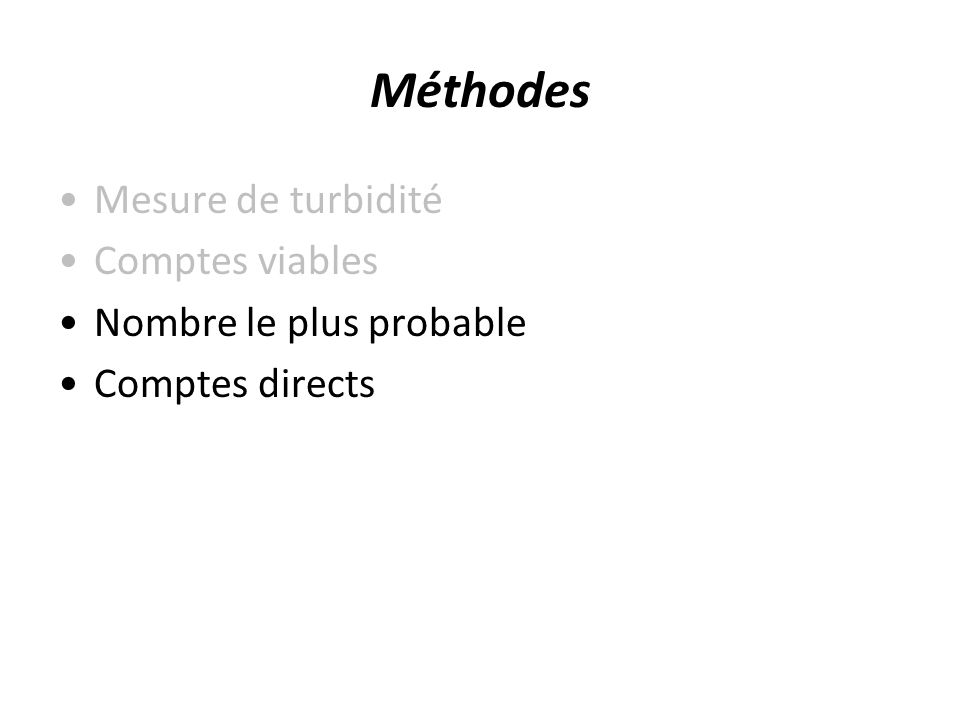 Méthodes Mesure de turbidité Comptes viables Nombre le plus probable Comptes directs