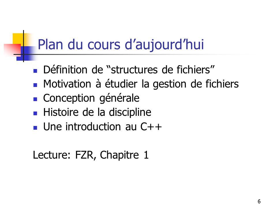 7 Définition Une structure de fichier = 1.Représentation pour les données en fichiers, et 2.
