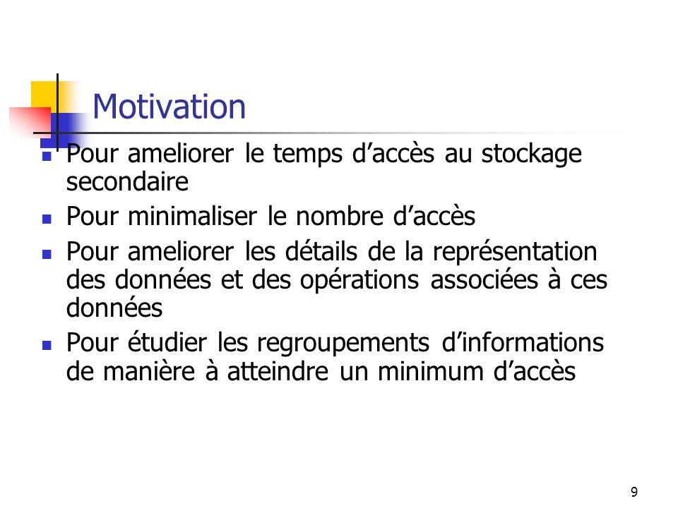 10 Conception générale Le But général est lobtention de linformation requise avec un SEUL accès au disque.